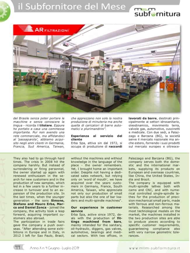 AR Filtrazioni e ERBA Spa per la lavorazione delle nebbie d'olio in officina