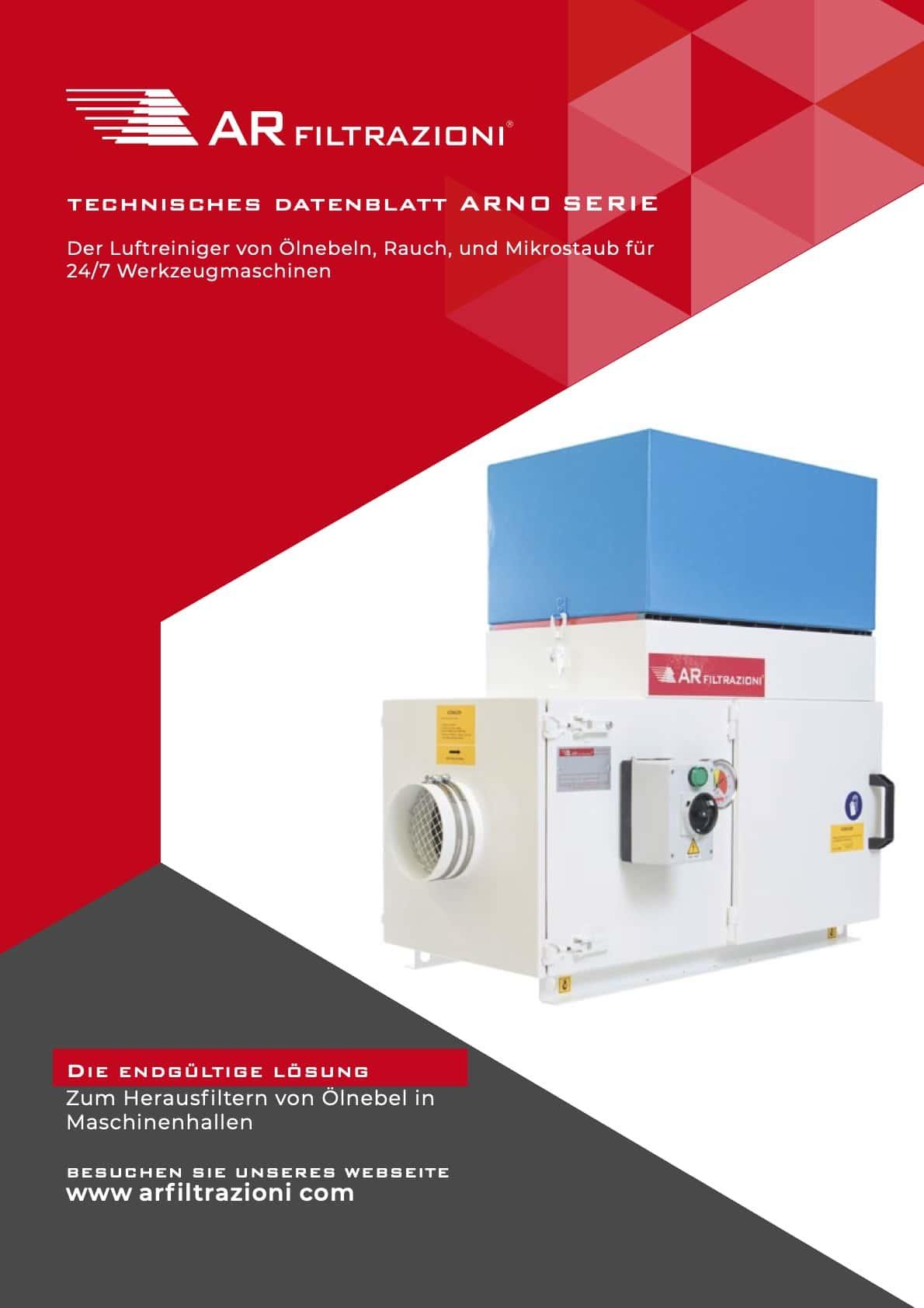 AR Filtrazioni Case History Portfolio Filtrazione Nebbie Oleose ARNO – Technisches Datenblatt Saug- und industrielle Reinigung öliger Nebel